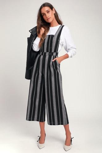 a92adff663 Bergen Black and White Striped Wide-Leg Jumpsuit