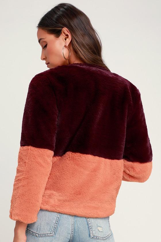 df85cabfd1d2 J.O.A. Fur Jacket - Faux Fur Jacket - Burgundy Color Block Jacket