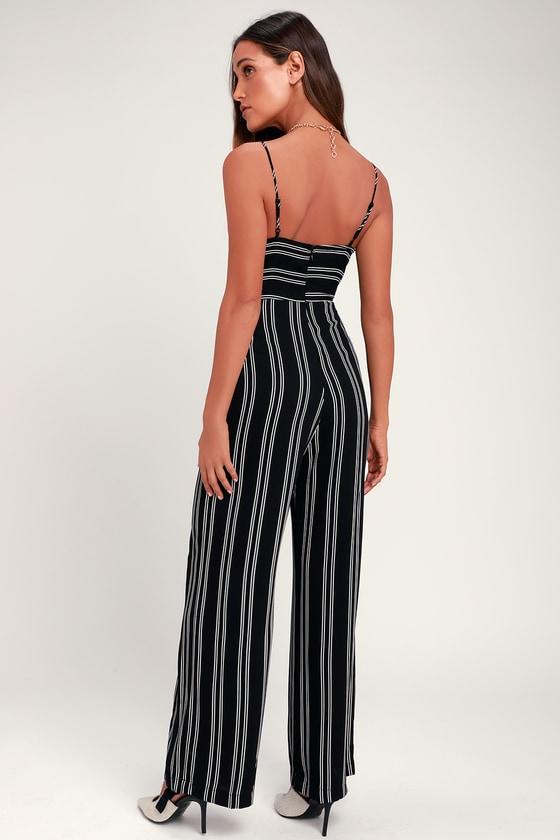 90dfa1fe4c2b Cute Striped Jumpsuit - Black Striped Jumpsuit - Black Jumpsuit
