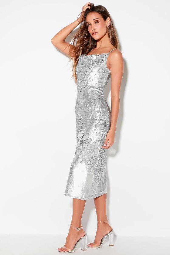 13f870bf9d9d Keepsake No Signs - Silver Sequin Dress - Sequin Midi Dress