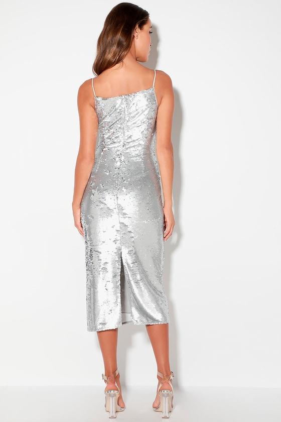 e3002407 Keepsake No Signs - Silver Sequin Dress - Sequin Midi Dress