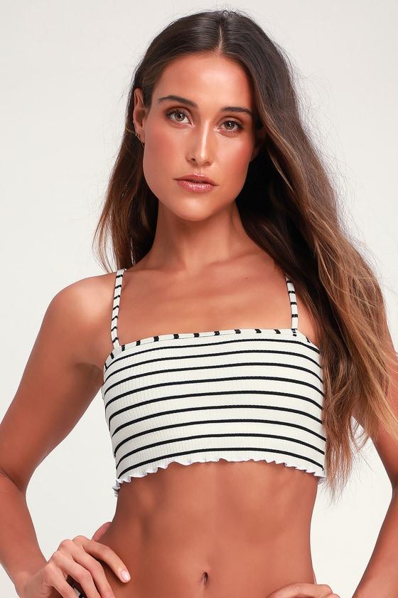 d9046cc60ead4 TWIIN Tommy Tankini - Striped Bikini Top - Black and White Bikni