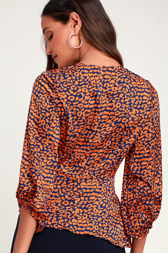 4d3867b62f6dc Chic Orange and Navy Blue Leopard Print Top - Peplum Top - Blouse