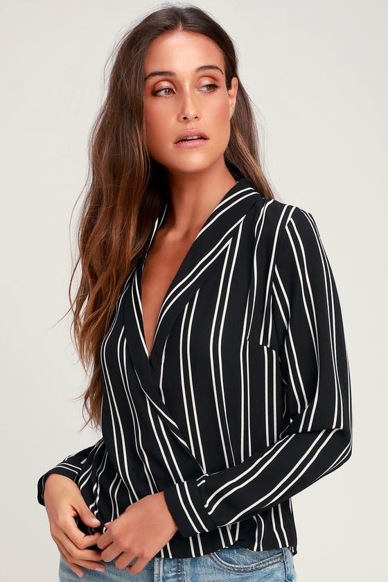 1a6c37fd61 Cute Black Striped Top - Striped Surplice Top - Striped Blouse