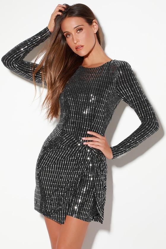 e0631e72 ASTR the Label On the List - Black and Silver Dress - Bodycon