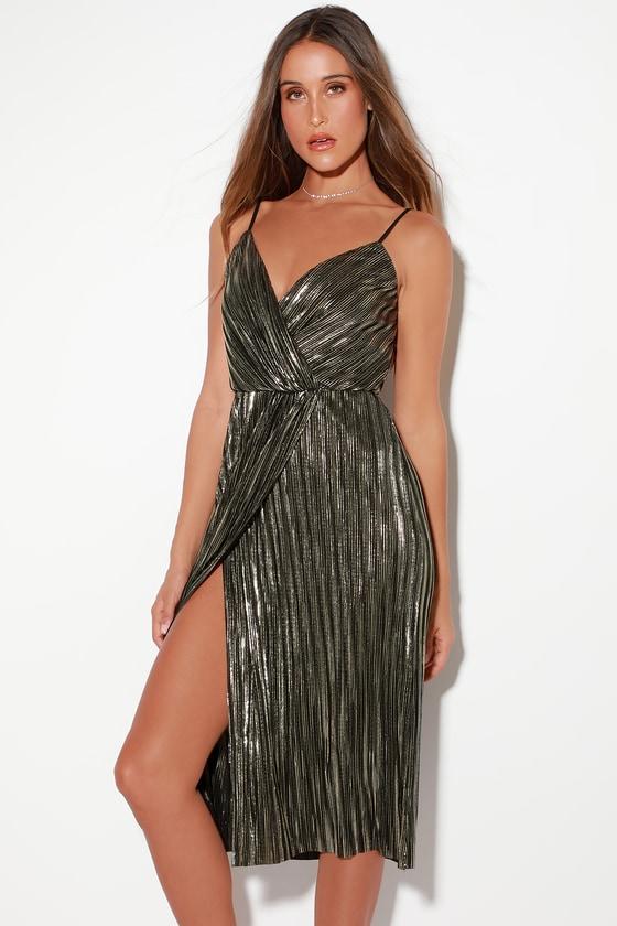 LUSH Dress - Black and Silver Dress - Metallic Dress - Midi Dress 615903e83