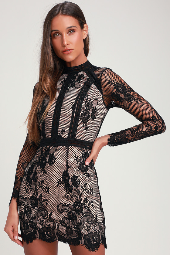 SAMSON NUDE AND BLACK LACE BODYCON MINI DRESS
