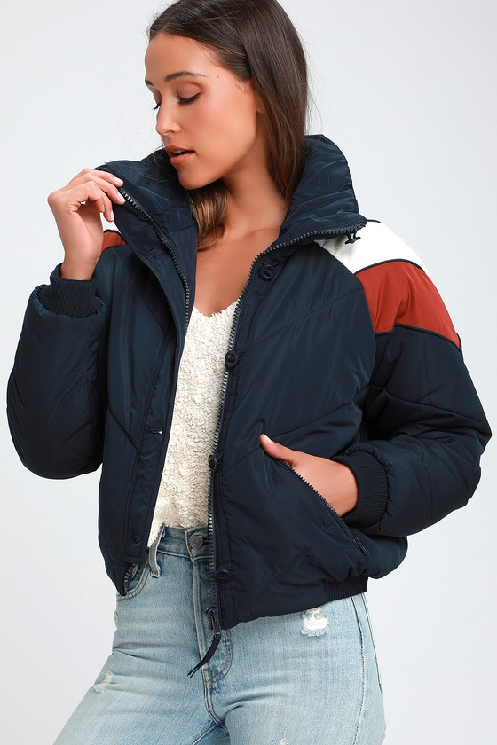 5d206499e Free People Heidi Jacket - Blue Puffer Jacket - Retro Ski Jacket