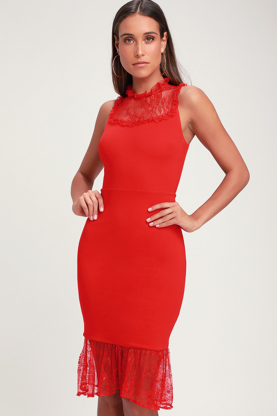 27df1d515 Ali   Jay Two to Tango - Red Bodycon Dress - Lace Midi Dress