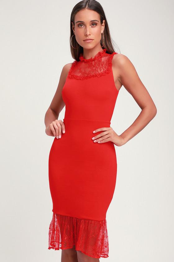 Two to Tango Red Lace Bodycon Midi Dress