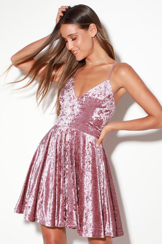f19f3c5977d Cute Rose Pink Dress - Rose Pink Dress - Velvet Skater Dress