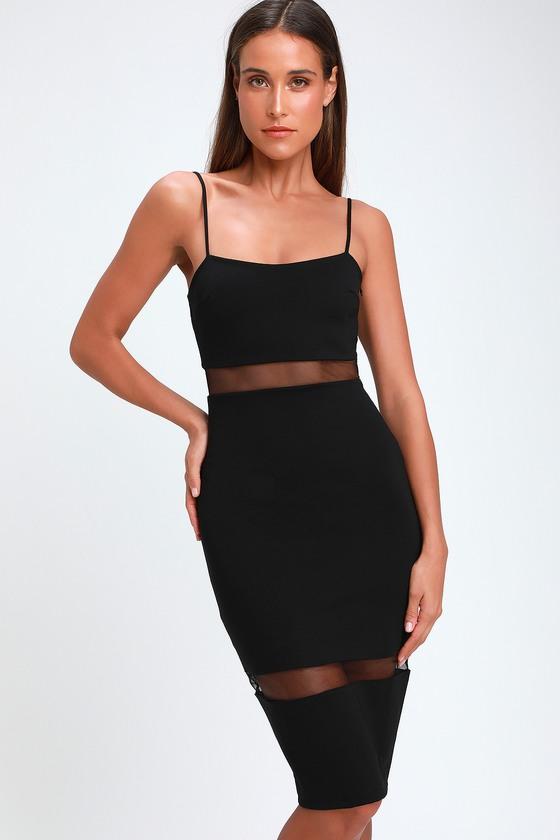 45a0ae690b Sexy Black Midi Dress - Mesh Bodycon Dress - Black Bodycon Dress