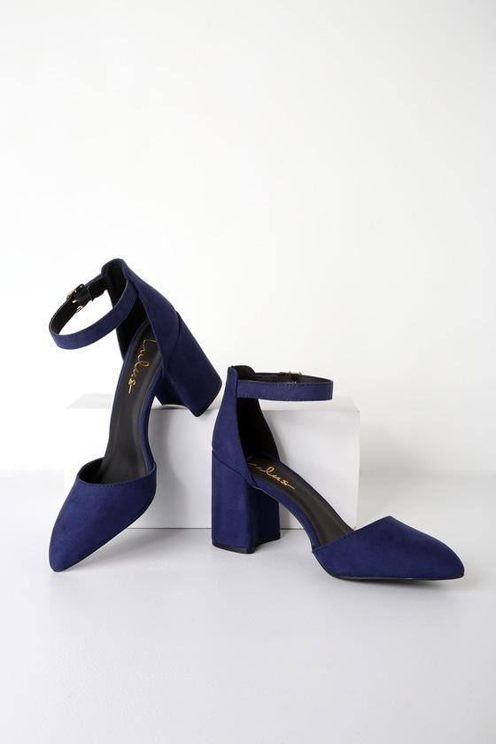 fdb91c31c5f Trendy Navy Blue Heels - Ankle Strap Heels - Block Heels