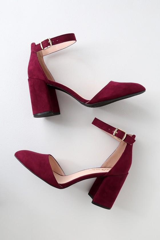 Burgundy Heels - Ankle Strap Heels