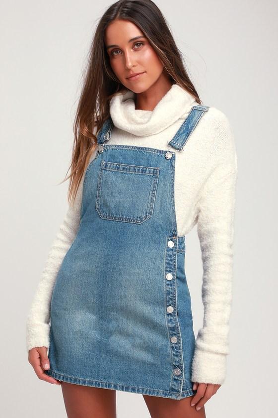 f72ba9e0f38 Free People Louise - Light Wash Denim Skirtall - Overall Dress