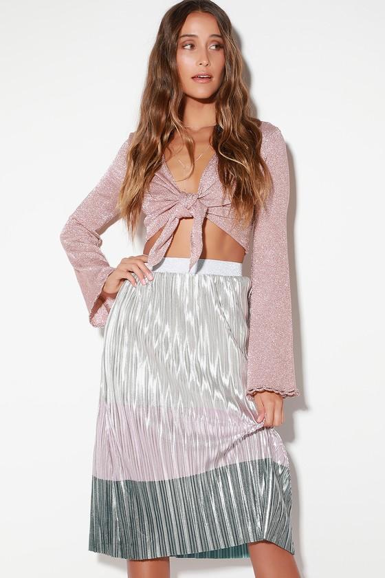 68514825b7d4 LUSH Skirt - Metallic Skirt - Color Block Skirt - Pleated Skirt