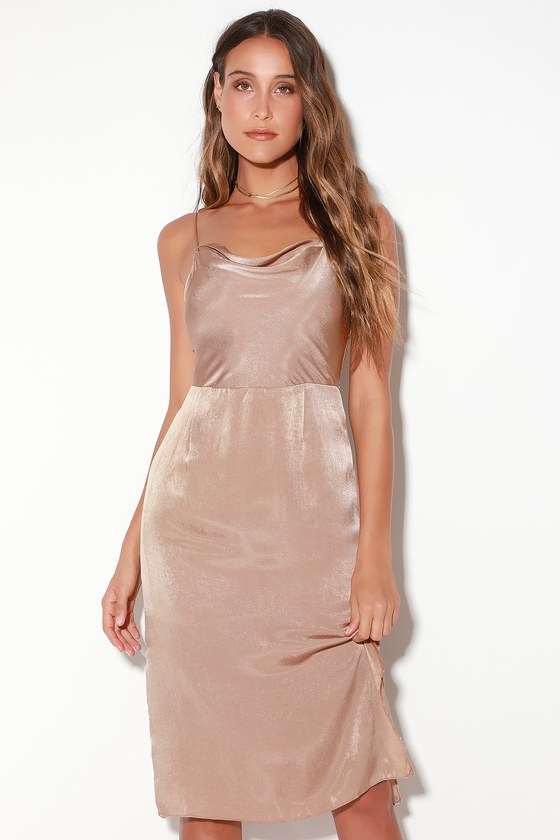 c294a383ebc1c EVIDNT Doll - Taupe Midi Dress - Satin Dress - Sleeveless Dress