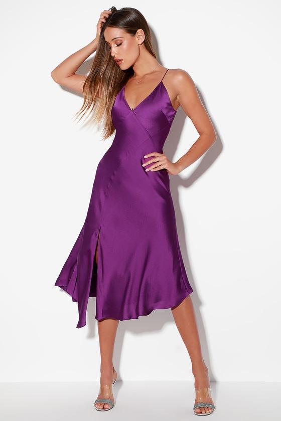 Infinity Purple Satin Sleeveless Midi Dress by Keepsake