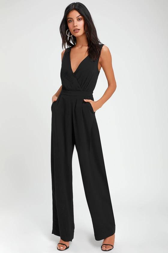 5e6c274a4a Sexy Black Jumpsuit - Wide-Leg Jumpsuit - Black Lace Jumpsuit