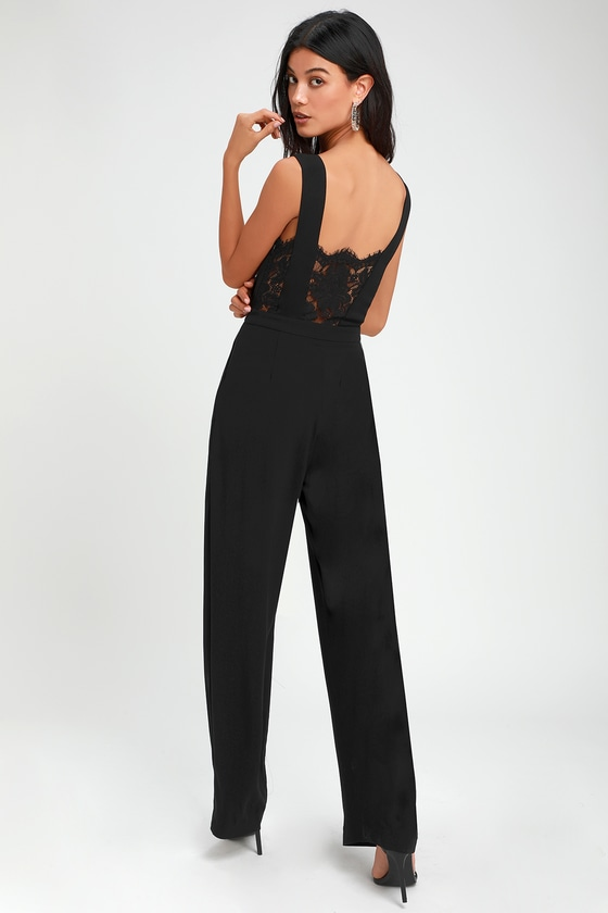 4a5aa87b23b Sexy Black Jumpsuit - Wide-Leg Jumpsuit - Black Lace Jumpsuit