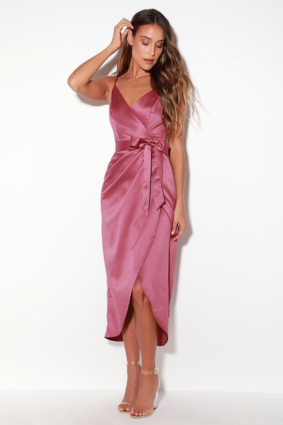e0fd00df97ba Lovely Mauve Purple Dress - Satin Dress - Midi Dress - Wrap Dress