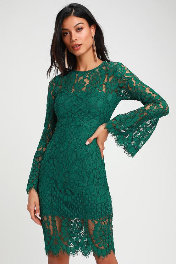 Enrapturing Elegance Green Lace Long Sleeve Midi Dress
