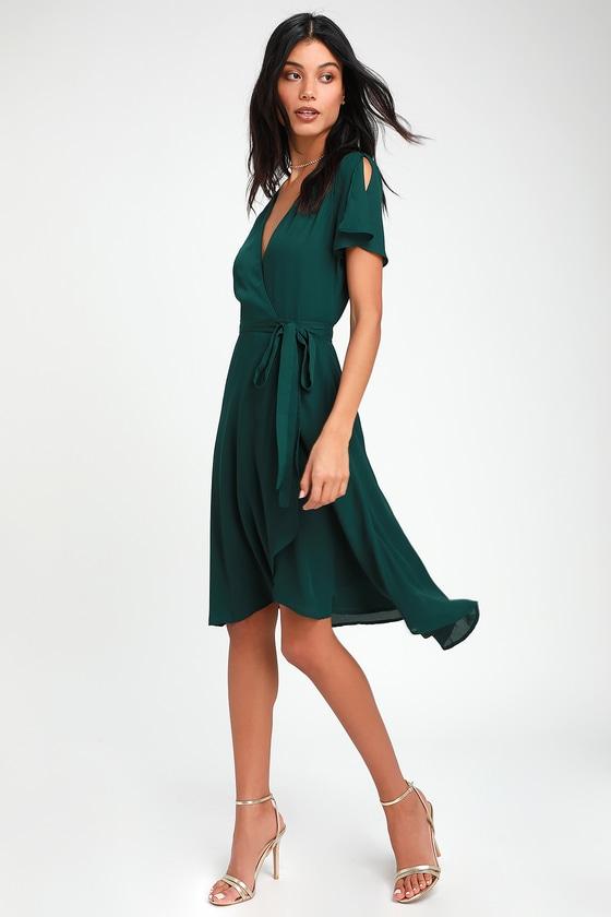 cab8e8a81198 Lovely Emerald Green Wrap Dress - Midi Wrap Dress - Midi Dress