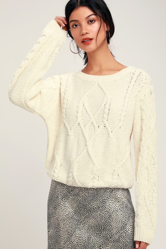 046016a419f Cute Ivory Sweater - Chenille Sweater - Cable Knit Sweater