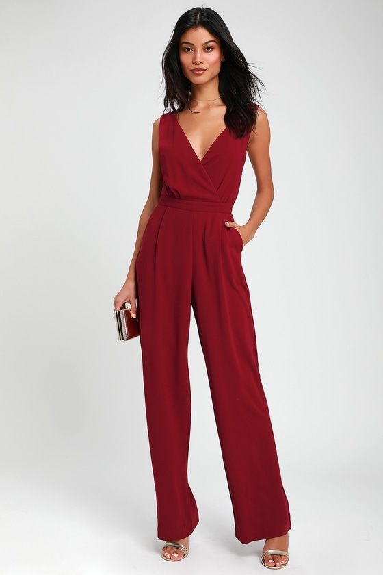 Kiska Burgundy Lace Wide Leg Jumpsuit by Lulus