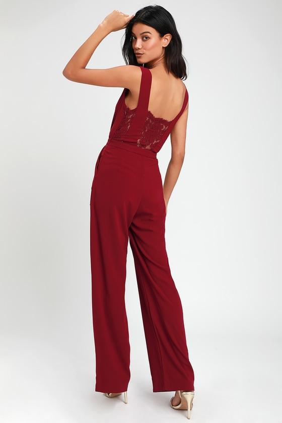 46f19307d45c Sexy Burgundy Jumpsuit - Wide-Leg Jumpsuit - Lace Jumpsuit