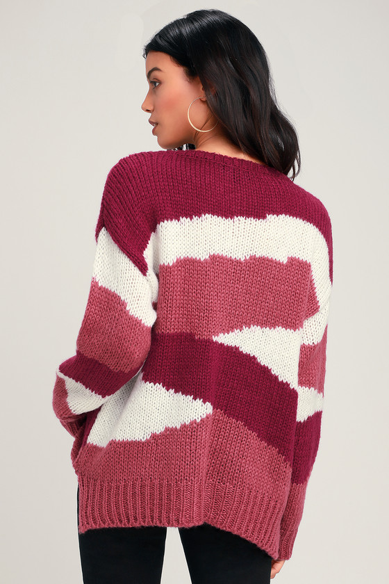 Cute Sweater - Cozy Sweater - Color Block Sweater - Pink Sweater 0f7604625