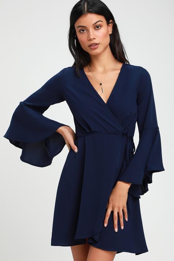 4f9fd051b83 Chic Navy Blue Dress - Wrap Dress - Flounce Sleeve Dress