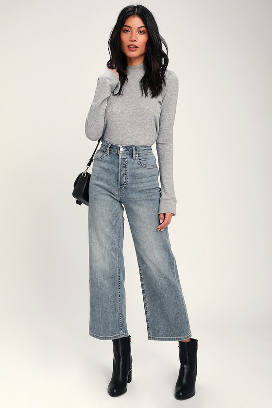 big selection cozy fresh high fashion Wales Light Wash Wide Leg High-Waisted Cropped Jeans