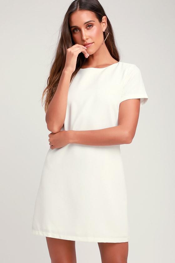 352961e907b Chic Ivory Dress - Shift Dress - Short Sleeve Dress