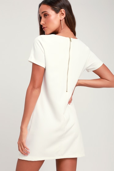 37372140ee39 Chic Ivory Dress - Shift Dress - Short Sleeve Dress