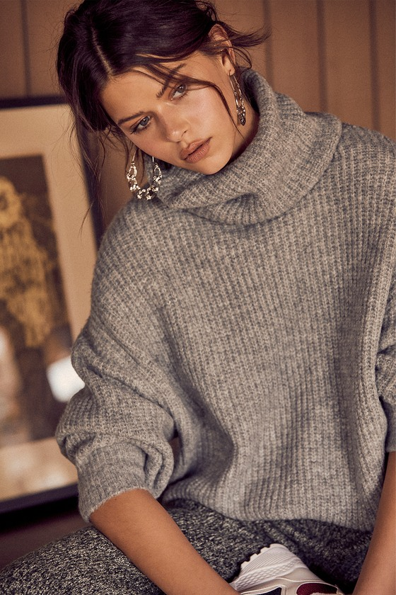 Conway Grey Oversized Knit Turtleneck Sweater - Lulus