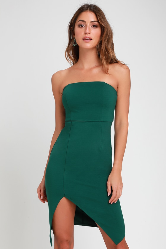 445a98580f9408 Sexy Forest Green Bodycon Dress - Strapless Dress - Party Dress
