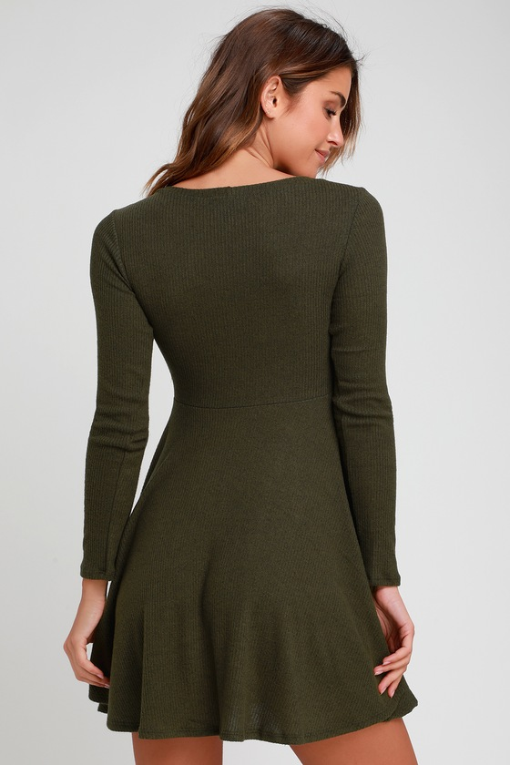 66841ae99423 Cute Olive Dress - Long Sleeve Skater Dress - Ribbed Knit Dress