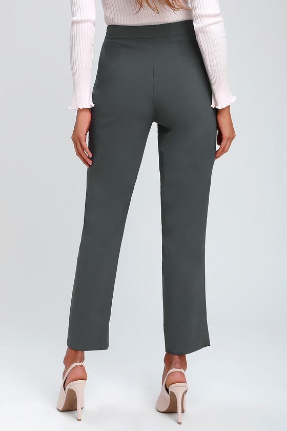 1c355a654b49e5 Chic Charcoal Grey Pants - Trouser Pants - Slit Dress Pants