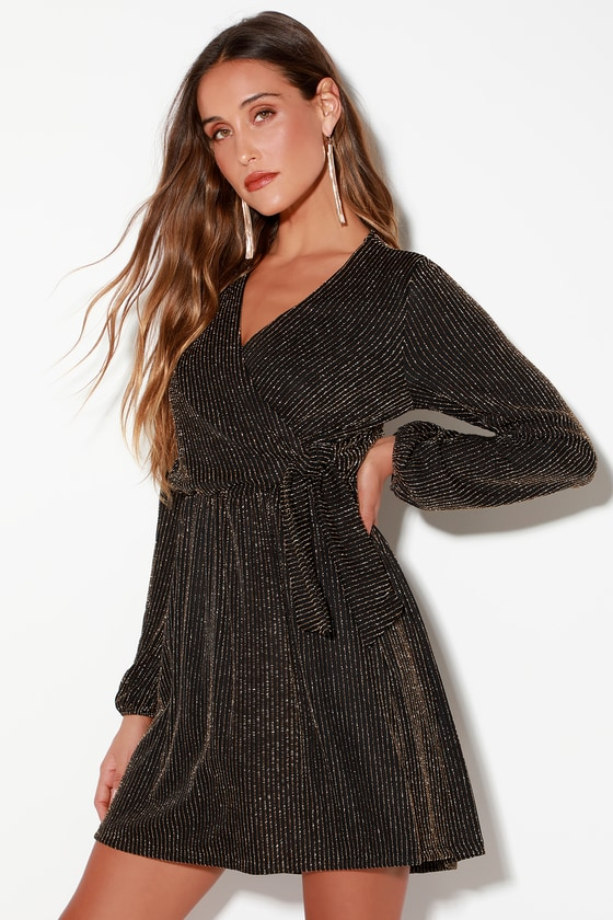 Chic Gold And Black Dress Striped Dress Long Sleeve Dress