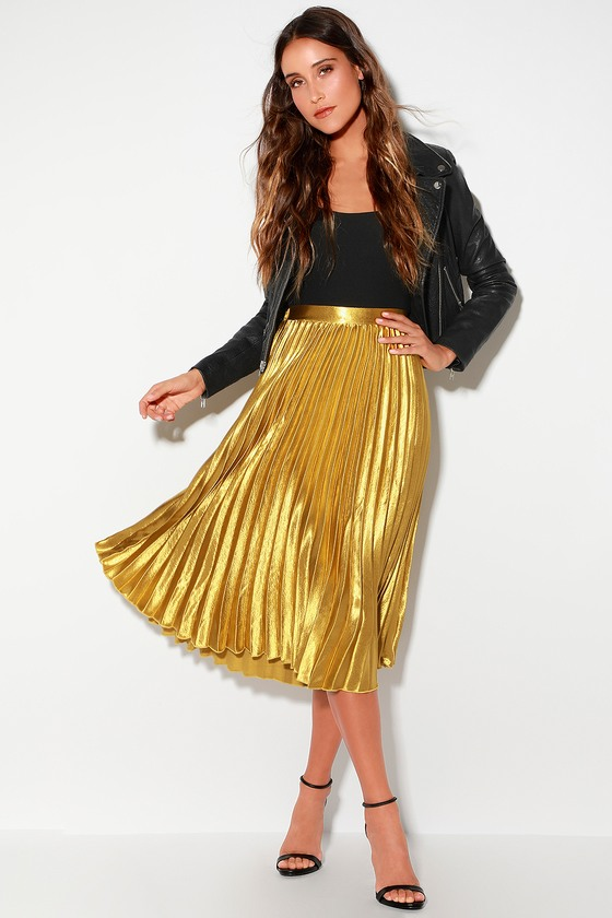 3cc92ddc648e Chic Gold Skirt - Pleated Midi Skirt - Gold Midi Skirt