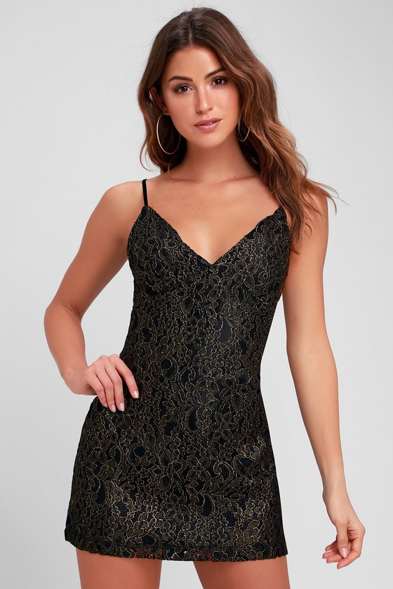 Obey Dominique Dress Gold And Black Lace Dress Mini Dress