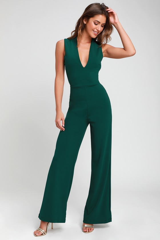 Thinking Out Loud Hunter Green Backless Jumpsuit