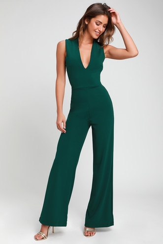 101df167f94a Thinking Out Loud Hunter Green Backless Jumpsuit