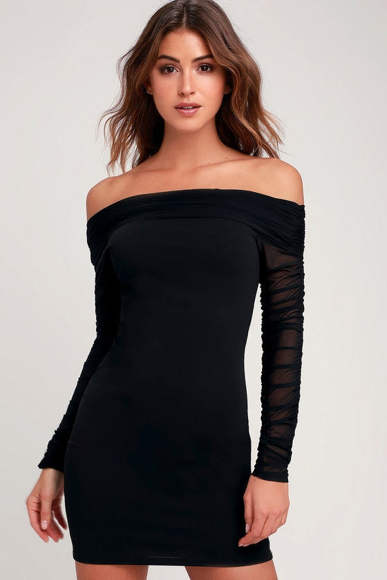 2ea06fd78f1 Move That Body Black Ruched Mesh Off-the-Shoulder Bodycon Dress