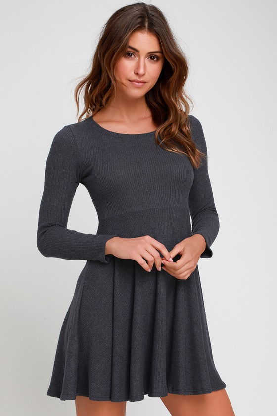 DENIM BLUE RIBBED KNIT LONG SLEEVE SKATER DRESS