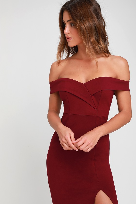 49df1ef38a4 Chic Burgundy Dress - Bodycon Dress - Off-the-Shoulder Dress