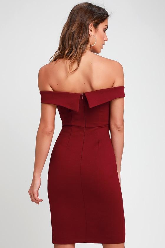40b3679007 Chic Burgundy Dress - Bodycon Dress - Off-the-Shoulder Dress