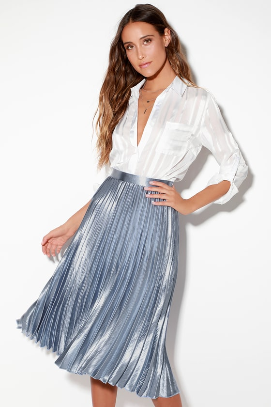 67ecf629eb Chic Light Blue Skirt - Pleated Midi Skirt - Blue Midi Skirt