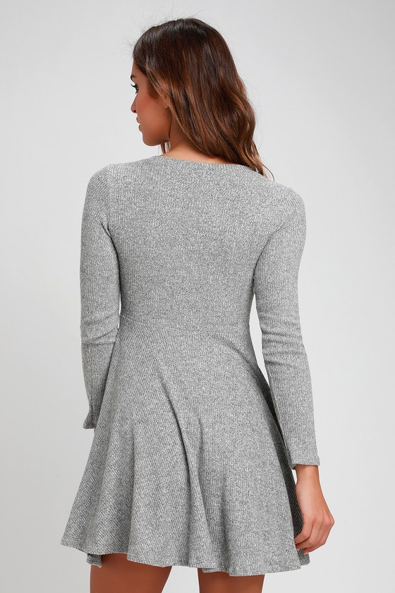 Cute Grey Dress - Long Sleeve Skater Dress - Ribbed Knit Dress 3c6f6a1e5